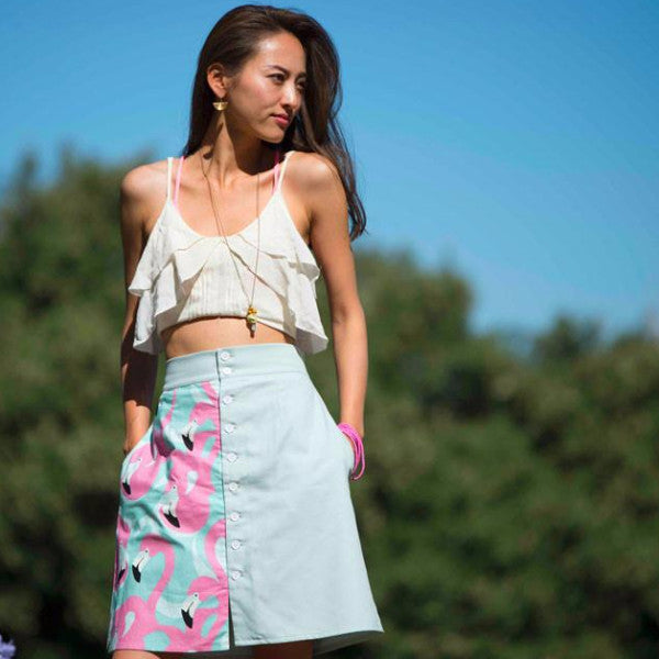 Barcelona Flamingo Color Blocked BoHo Mini Skirt