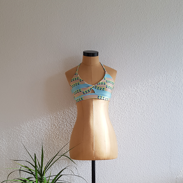 Knit bralette in light blue and black geometric print