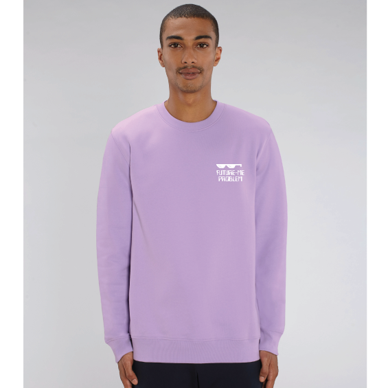 Man wearing lavender purple organic sweatshirt with Future Me Problem and Sunglasses printed