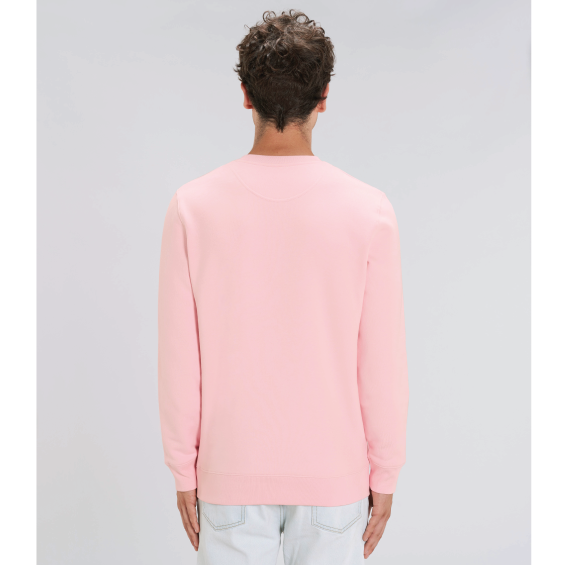 "Men's Light Pink Recycled Polyester Sweatshirt with ""Back of Wake me up for Snacks"" caption printed"