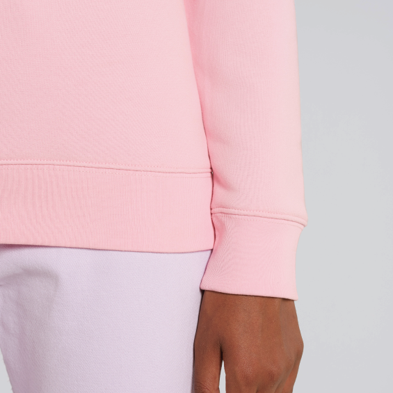 Close up of cuff of light pink men's sweatshirt