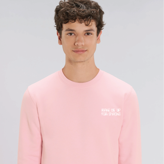 "Men's Light Pink Recycled Polyester Sweatshirt with ""Wake me up for Snacks"" caption printed"