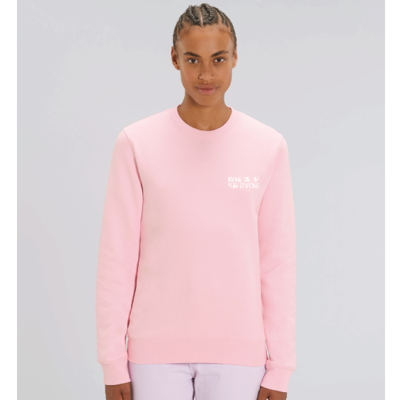 "Women's Light pink organic sweatshirt with ""Wake Me Up for Snacks"" caption printed"