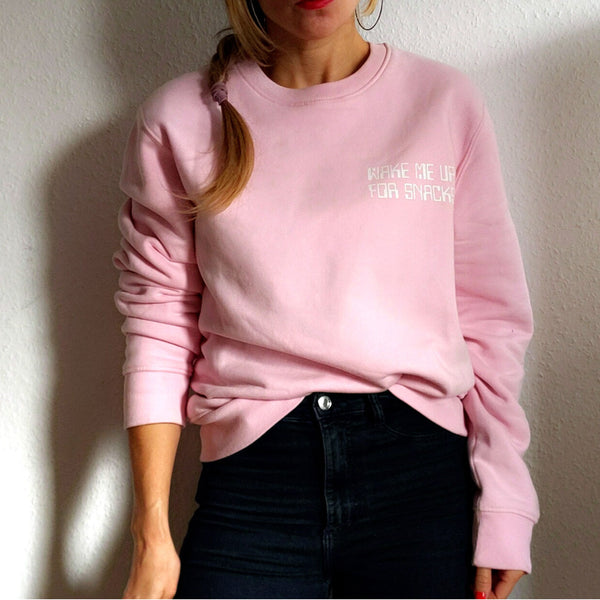 "Women's Light pink organic sweatshirt with ""Wake Me Up for Snacks"" printed"