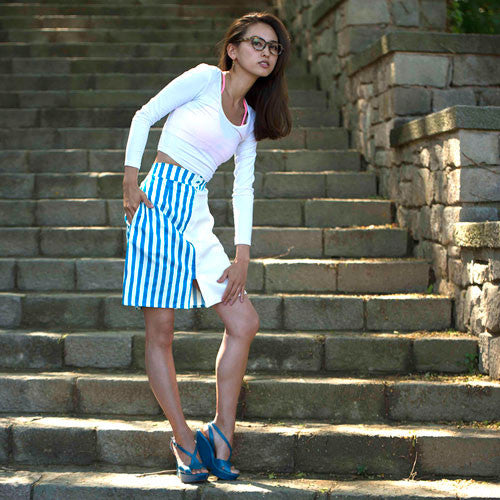 Teal and white striped skirt with white crop top