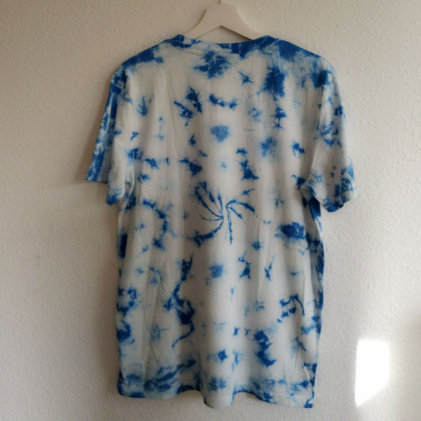 Back of Blue and White tie dye organic tee shirt