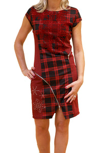 Front view of black and red plaid dress from Desigual with cap sleeves.