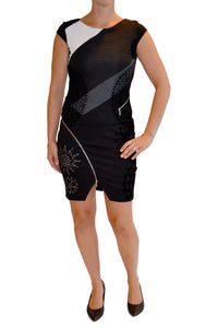 Front view of fitted multi-patterned dress with cap sleeves from Desigual in black.