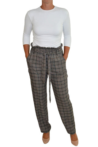 Plaid Paper Bag Waist Pants
