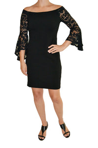 Front view of black off-the-shoulder dress with full lace bell sleeves.