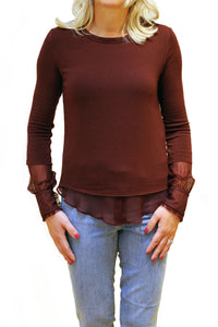 Front view of maroon mock layer sweater from Bailey 44.