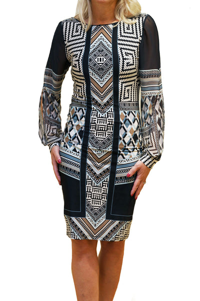 Front view of fitted knee length dress in tribal print from Analili.
