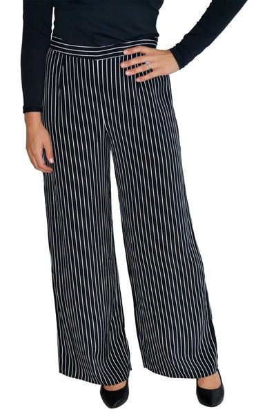 Front view of high waisted, wide leg stripe pants from Three Dots.