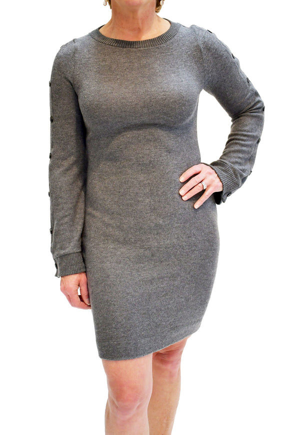 Front view of semi-fitted brushed sweater dress from Three Dots.