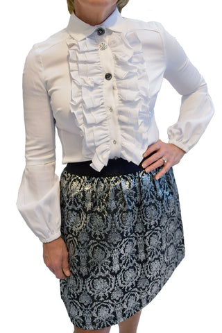 Metallic elastic waist skirt from Jade.