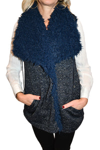 Front view of faux fur reversible vest from Staples.