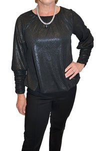 Front view of subtle shimmering holiday blouse with shirred sleeves from Nally & Millie.