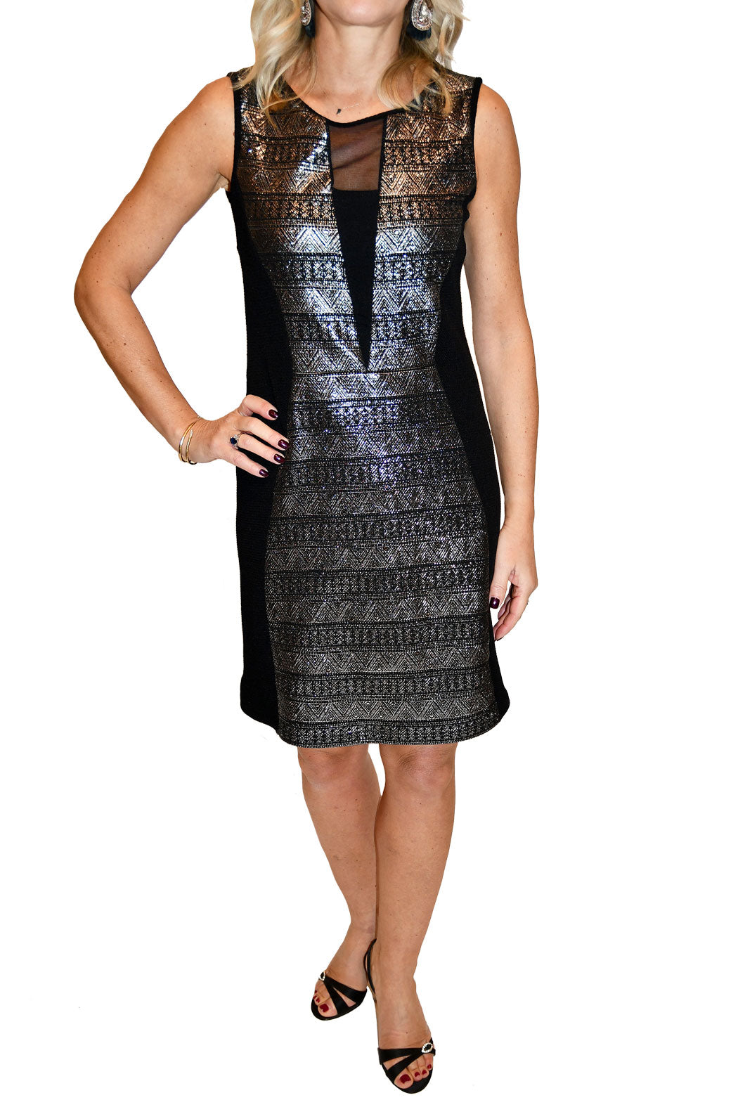 Front view of metallic dress with deep v neckline and mesh detailing,