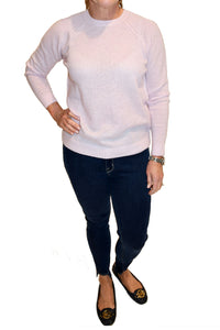 Pink cashmere sweater from Minnie Rose in crewneck.