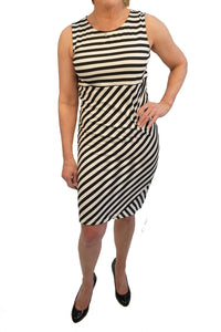 Empire waist sleeveless dress with mixed stripe print.