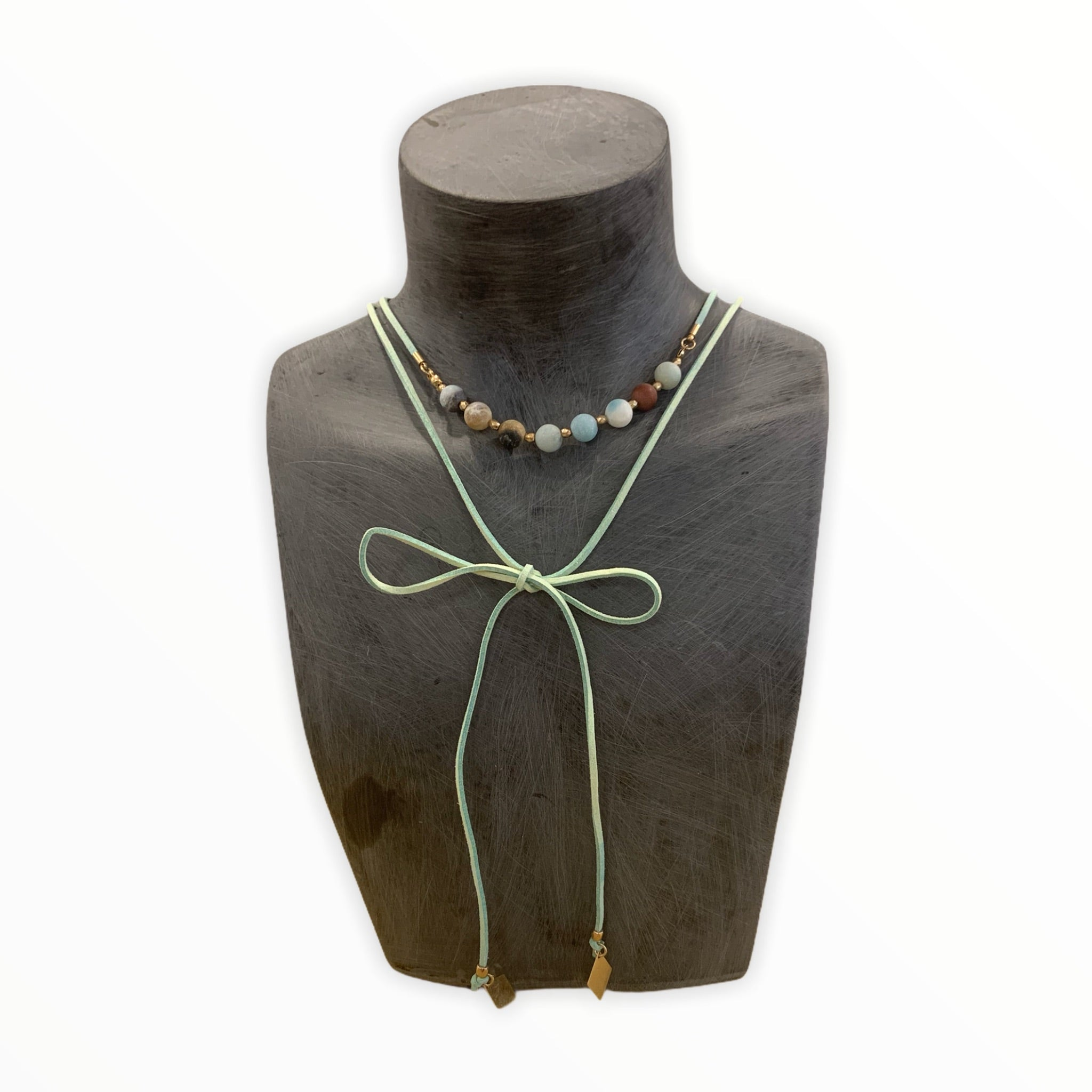Mint beads and Leather Choker
