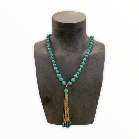Beaded Long Turquoise Tassel Necklace
