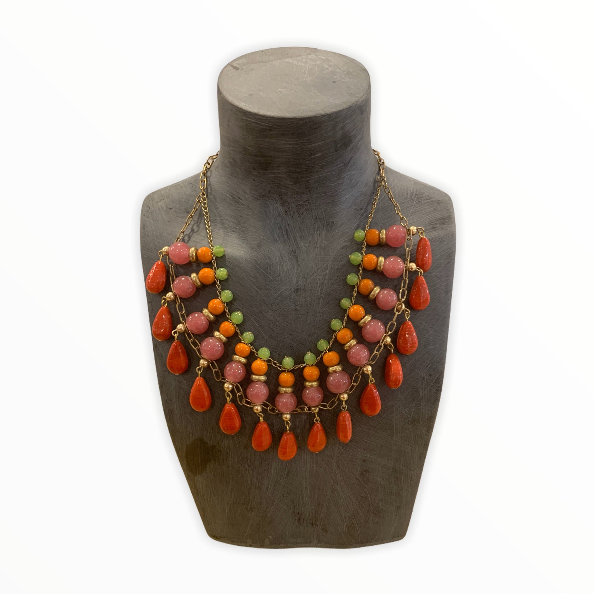 Orange and Coral Bib Necklace