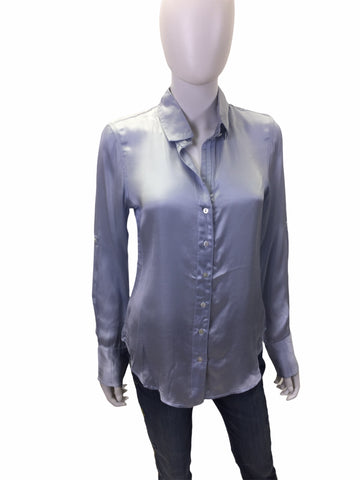 Sky Blue Silky Button Down Blouse