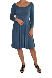Salaam dress with a flattering waistline, 3/4 length sleeve and wide scoop neckline.