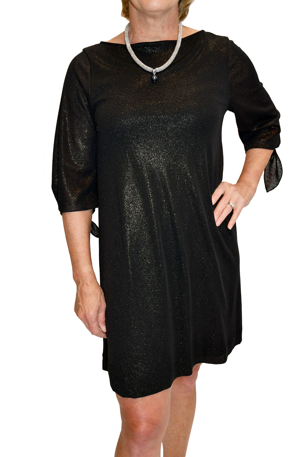 Front view of shimmer shift dress with tie sleeves from Nally and Millie.