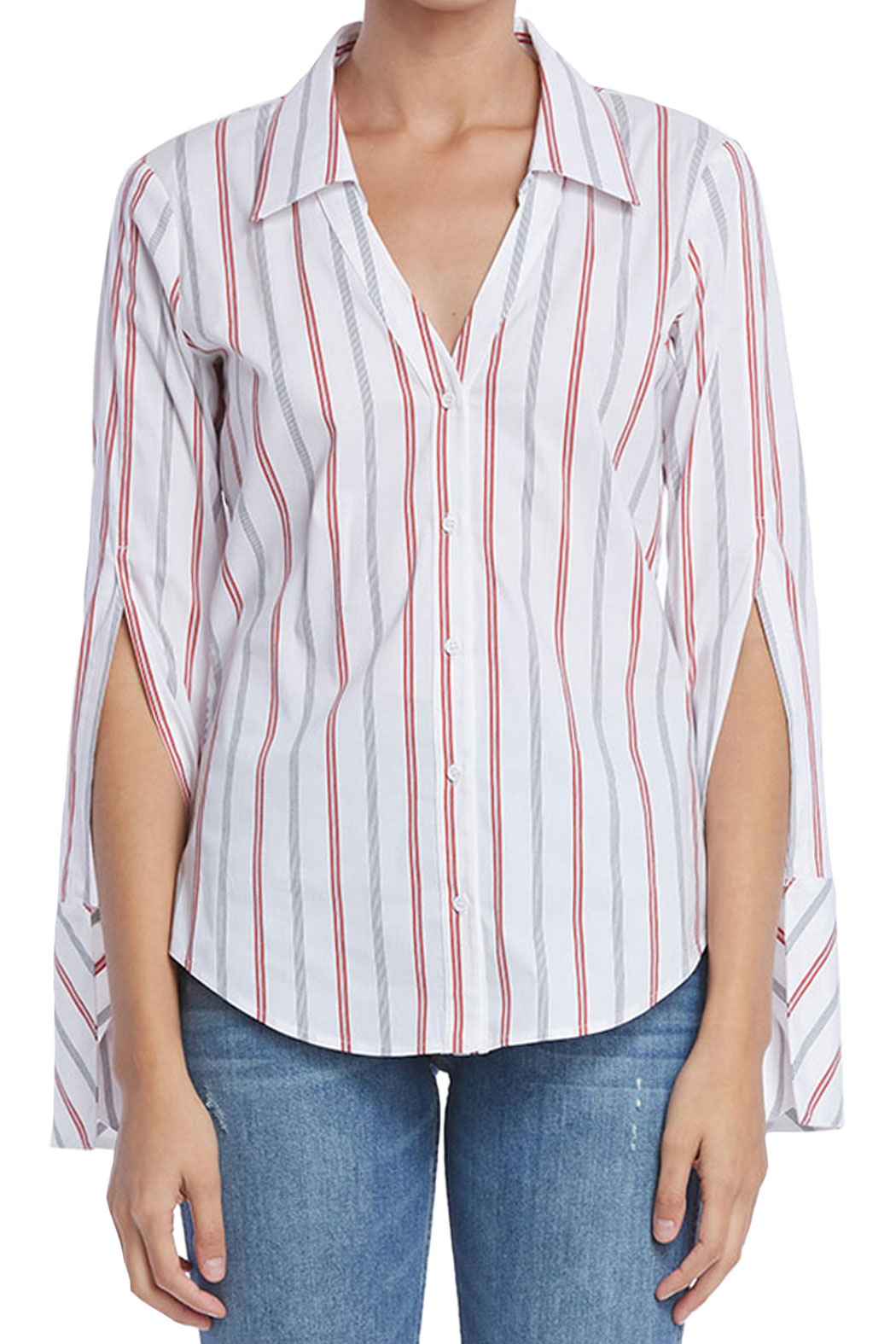 Front view of ruched shirt from Bailey 44.