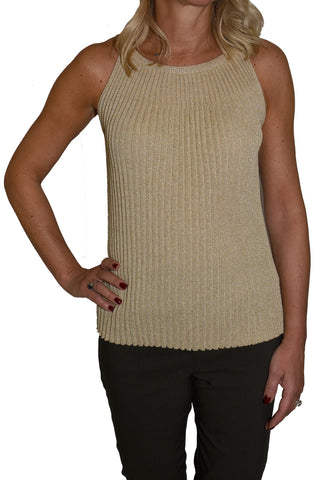 Metallized Plisse Knit Tank