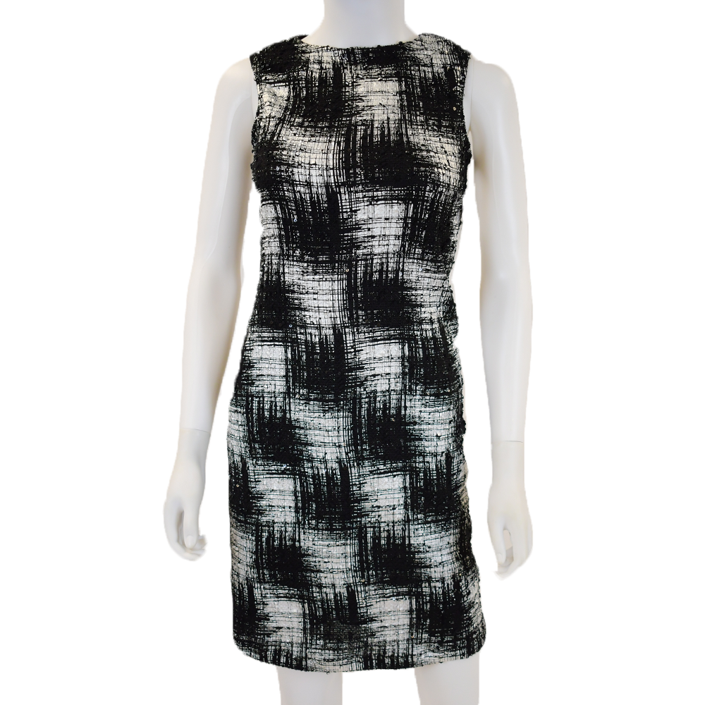 Patterned Silver Shift Dress