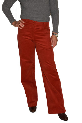 Front view of wide leg, high waisted corduroy bottoms from Heart.