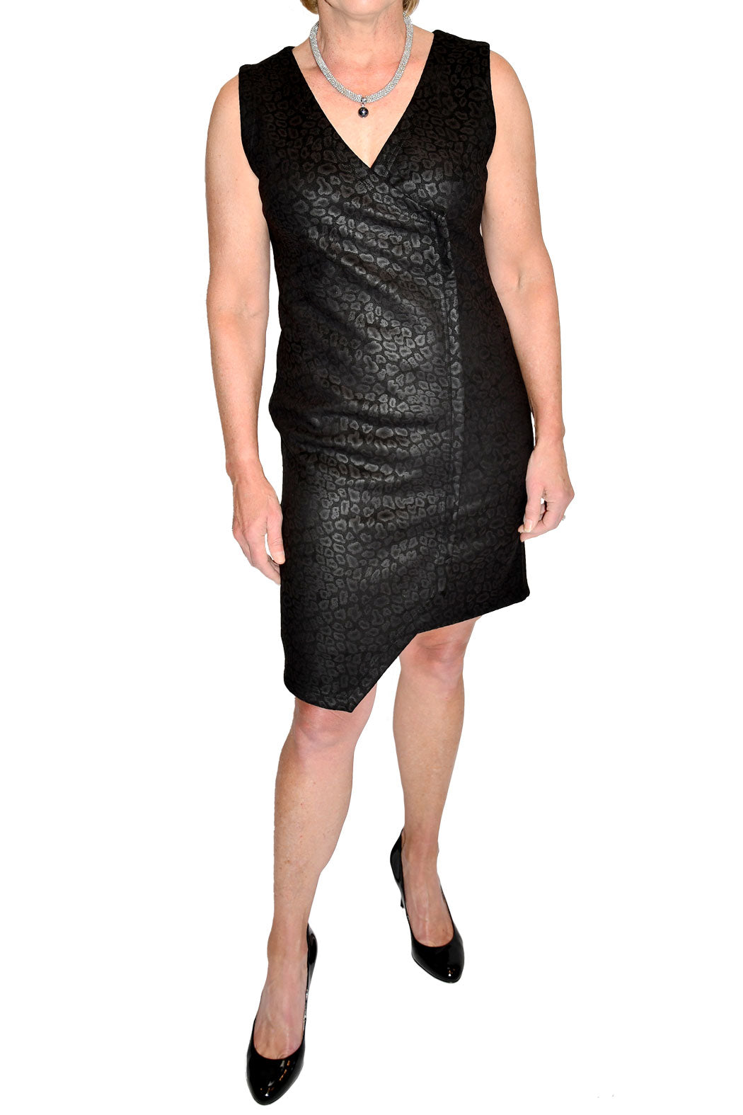 Front view of v-neck leopard front dress with asymmetrical hemline from 209 West.