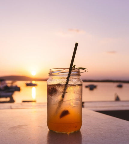 Iced tea on the beach