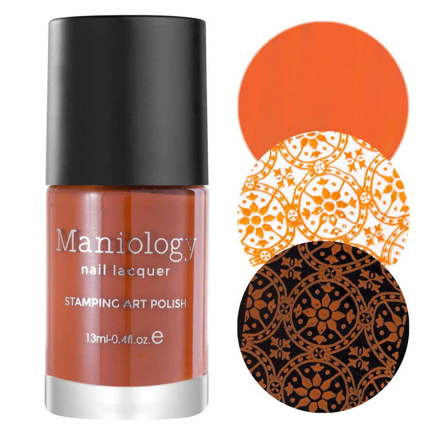A Burnt Orange Stamping Polish with a smooth cream finish from Autumn Blossom collection Chrysanthemum (B302).