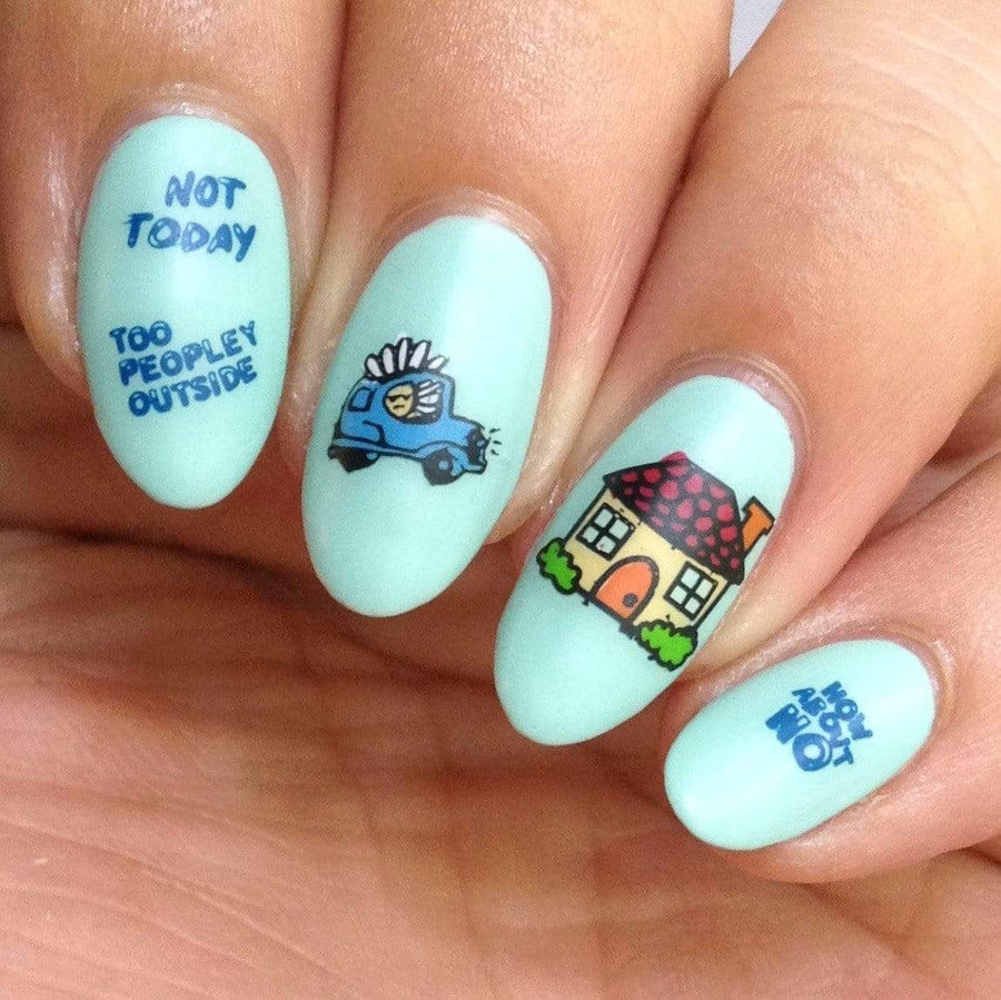 A manicured hand with apathetic expression, house, and sassy sayings design by Maniology (m026).