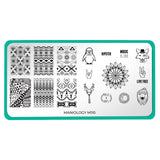 A nail stamping plate with tribal patterns, hipster animals, and phrases inspired by our favorite music and art festivals design by Maniology (m110).