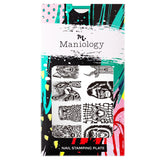 A nail stamping XL plate with 12 animal-themed designs including fierce tigers, majestic lions, and more from Fuzzy & Ferocious XL collection by Maniology (m136).