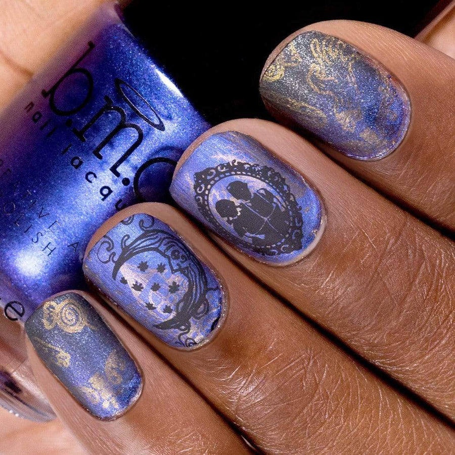 A sweet and sinister manicure using Maniology's Sweet Revenge nail stamping plate and Gretel Brittle nail stamping polish.