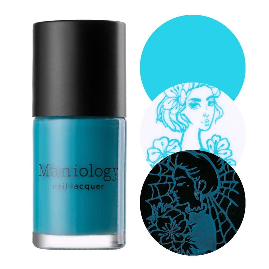 An icy blue cream stamping polish from Jingle Bell Rock Collection Frosty Air (B257) by Maniology.
