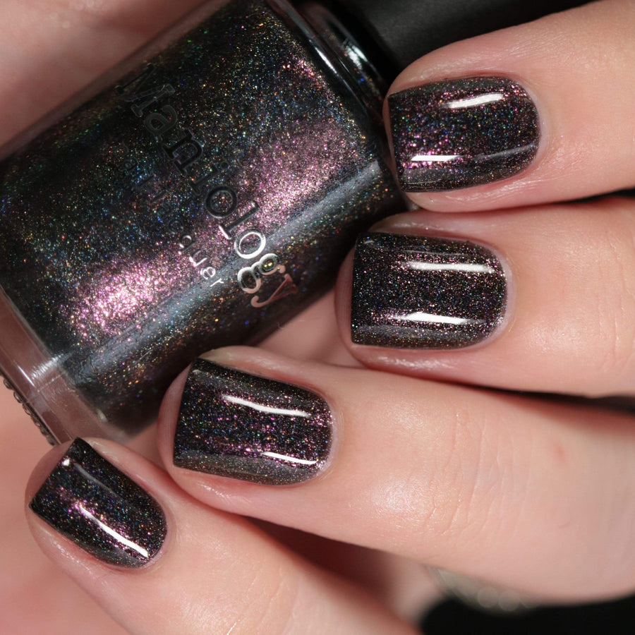 Moods: Dreamy (P105) - Black Scattered Holographic Shimmer Nail Polish