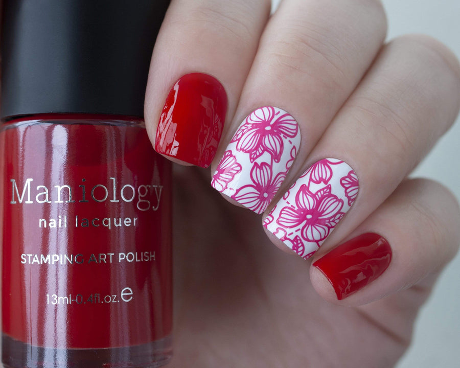 A manicured hand holding Sheer Red Stamping Polish from Rainbow Splash Collection: Poppyseed (B272) by Maniology.