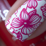 A manicured hand made with Sheer Red Stamping Polish from Rainbow Splash Collection: Poppyseed (B272) by Maniology.