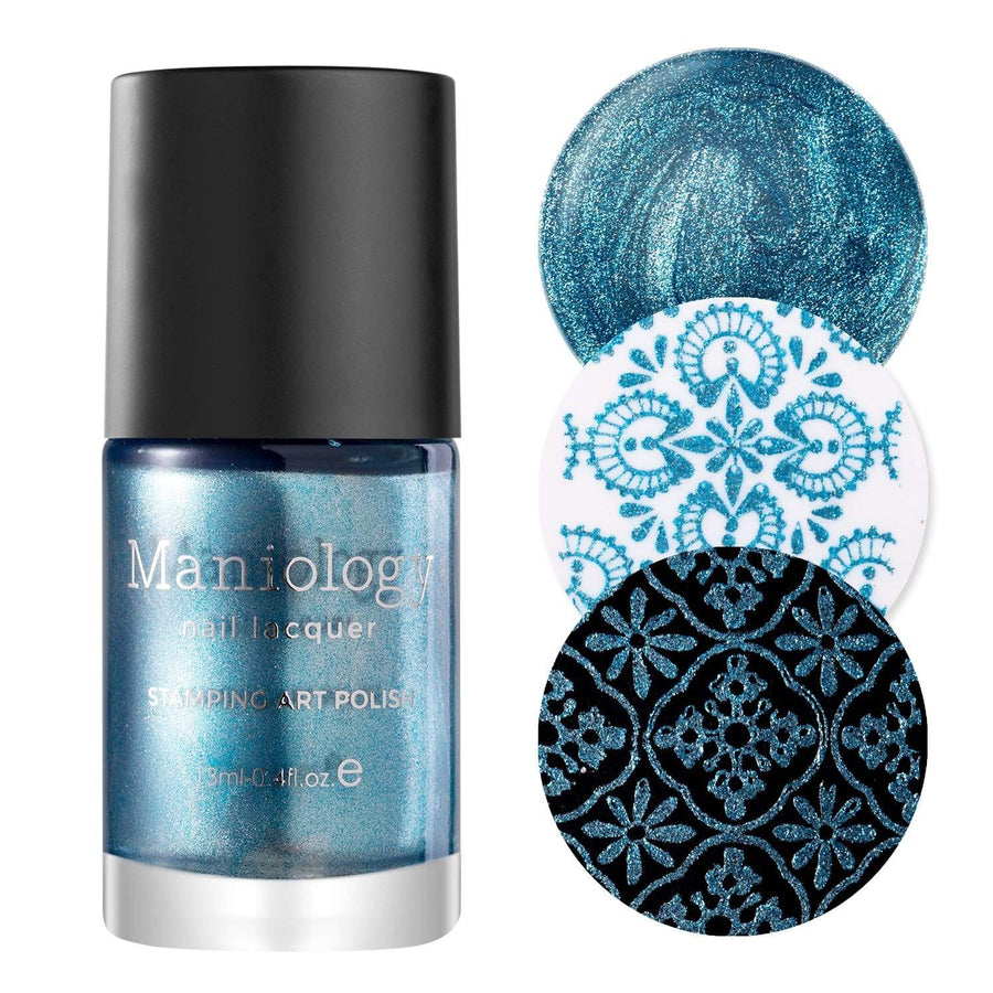 A sparkling metallic blue stamping polish with shimmery flecks of silver in every stroke from Soiree All Day collection Bubbly (B322).