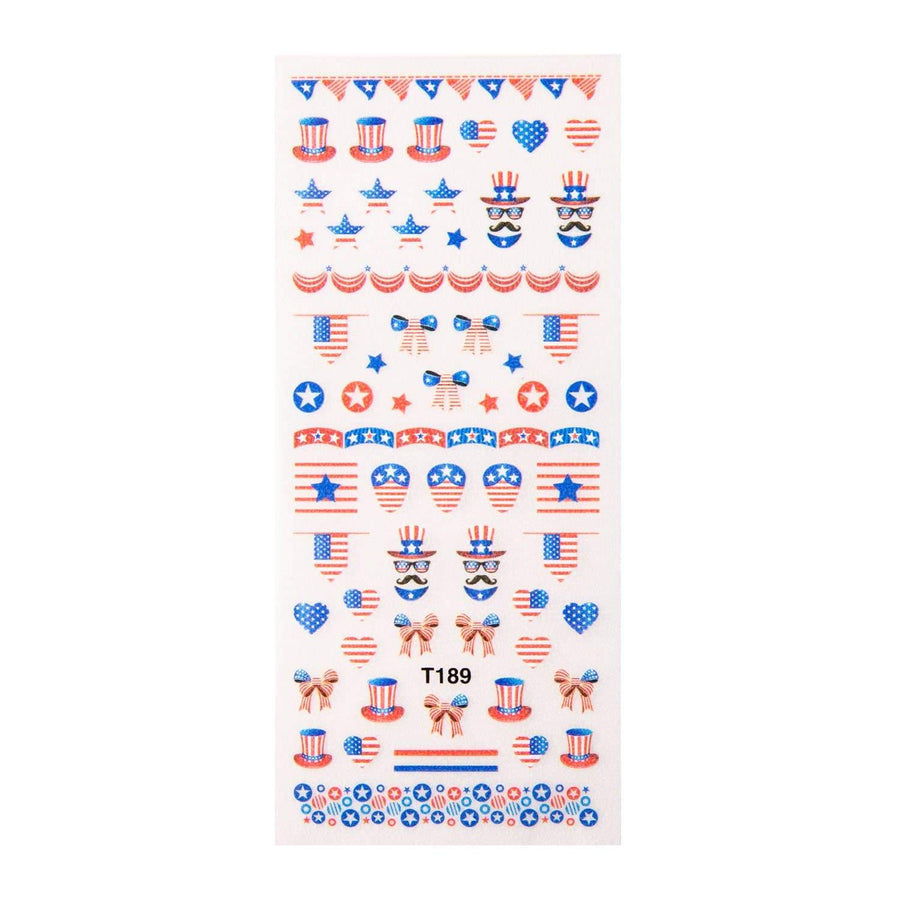 A Red, White, & Blue Rub-On Nail Decals featuring American flag colors by Maniology (T189).