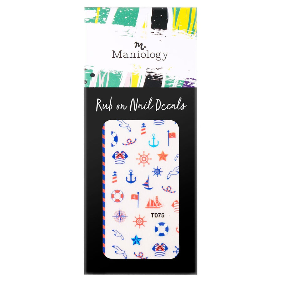 Smooth Sailing (T075) Rub-On Nail Decals from our Summer Occasions collections with sailor shirts, anchors, seagulls, and more nautical sailing manicure designs.