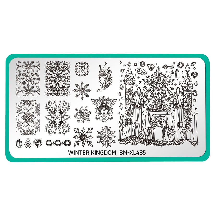A nail stamping plate in our Winter Kingdom set that has a bunch of cool ice crystal designs with a mix of full nail kaleidoscope-esk designs, accent patterns, and a wicked-looking ice castle by Maniology.