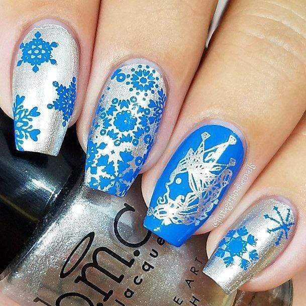 A manicured hand with Frosty Crystals designs by Maniology (BM-XL485) holding a polish.
